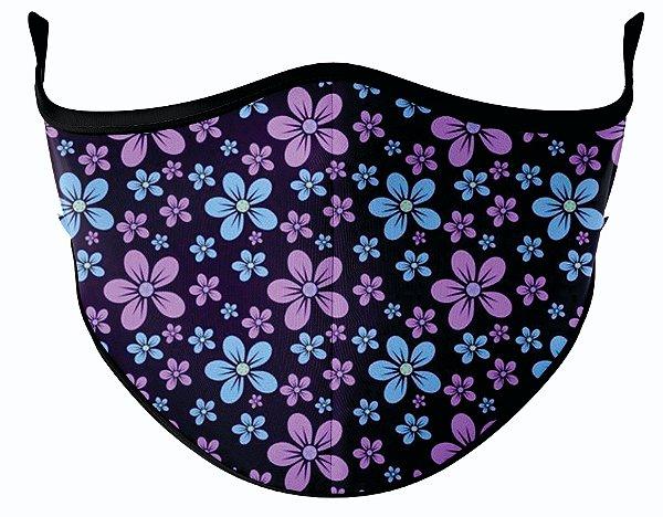 Máscara de Tecido de Dupla Camada Floral - Roxo e Azul
