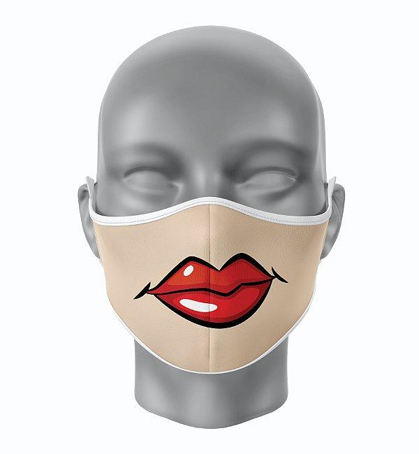 Máscara de Tecido de Dupla Camada Estampa Bocas Pensativa