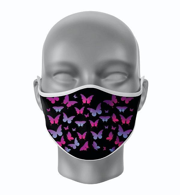 Máscara de Tecido de Dupla Camada  Fundo Preto Borboletas