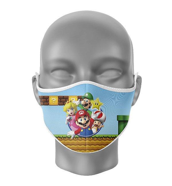 Máscara de Tecido Dupla Camada Antibacteriana Turma do Mario
