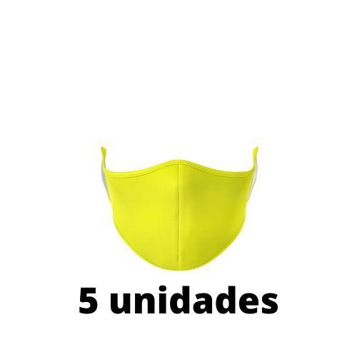 Máscara Antibacteriana Amarela Kit C/ 5 Unidades