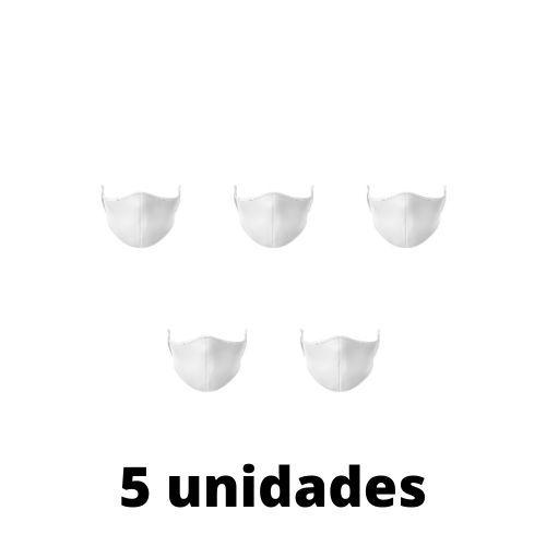 Máscara Antibacteriana Branca Kit C/ 5 Unidades