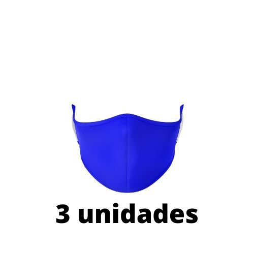 Máscara Antibacteriana azul Kit C/ 3 Unidades