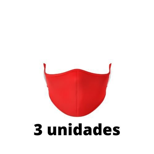 Máscara Antibacteriana Vermelha Kit C/ 3 Unidades
