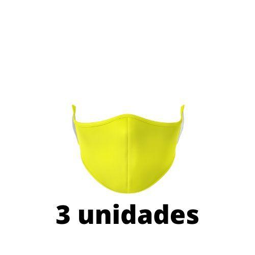 Máscara Antibacteriana Amarela Kit C/ 3 Unidades