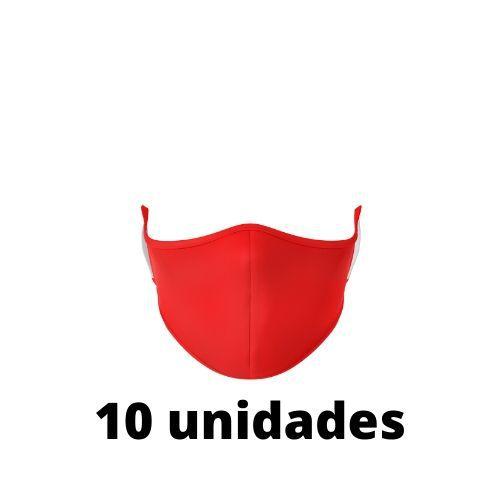 Máscara Antibacteriana Vermelha Kit C/ 10 Unidades