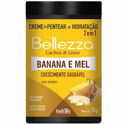 Creme de Pentear + Hidratação Hidran Bellezza 2 em 1 Banana e Mel 1Kg