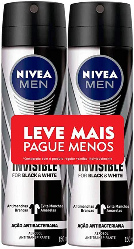 Desodorante Aerosol Nivea Men Black & White Invisible 48h 150ml C/2 Unidades