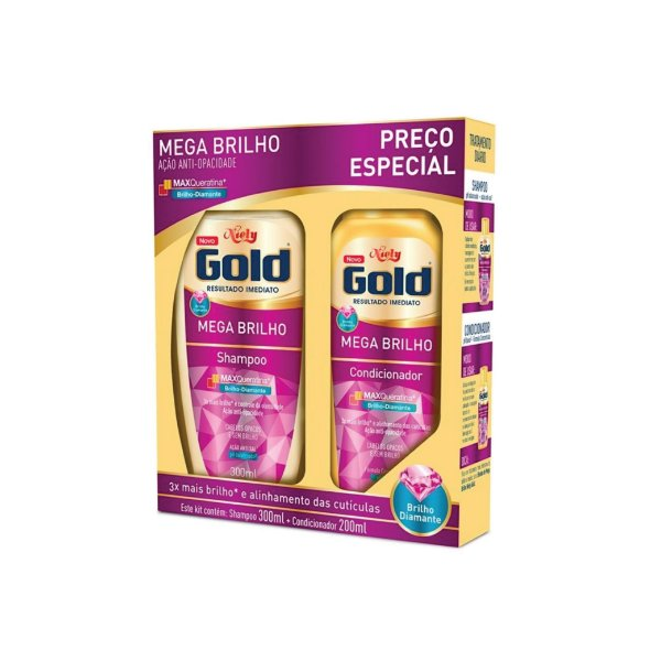 Kit Shampoo Niely Gold Mega Brilho 300ml e Condicionador 200ml
