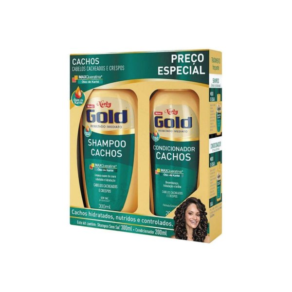 Kit Shampoo Niely Gold Cachos 300ml e Condicionador 200ml