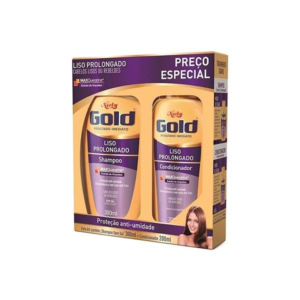Kit Shampoo Niely Gold Liso Prolongado 300ml e Condicionador 200ml