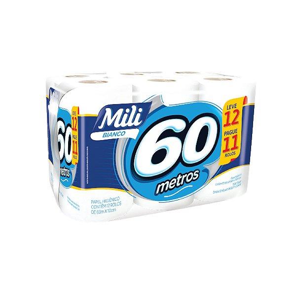 Papel Higiênico Mili Bianco 12x60m Leve 12 Pague 11