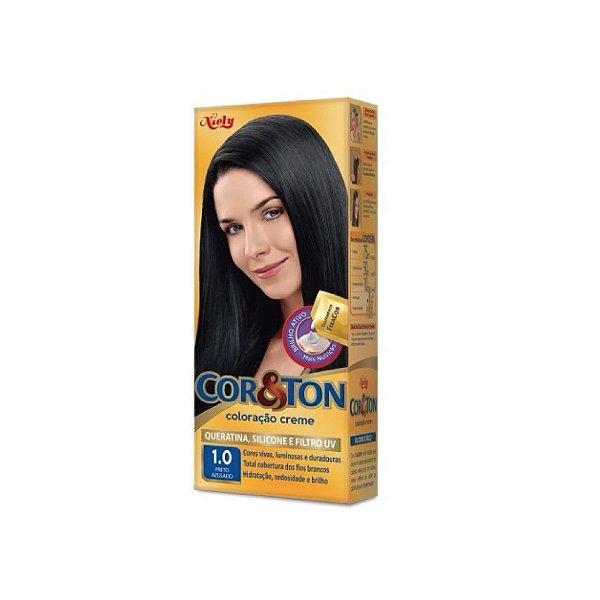 Coloração Cor&Ton Min kit 1.0 Preto Azulado