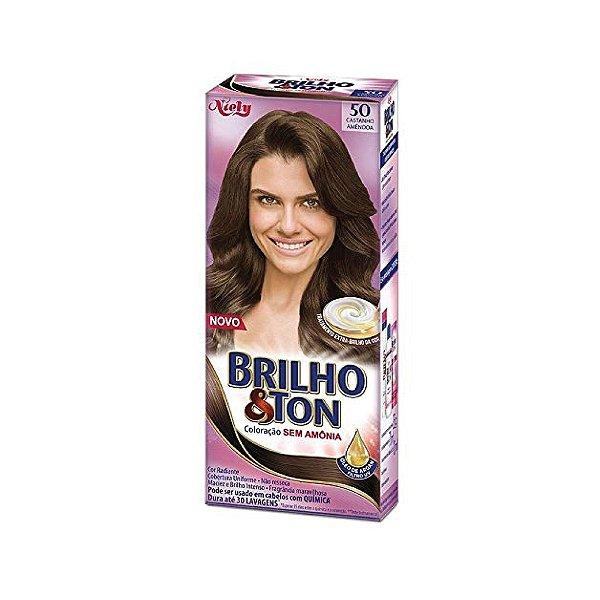Coloração Niely Brilho&Ton 50 Castanho Amêndoa