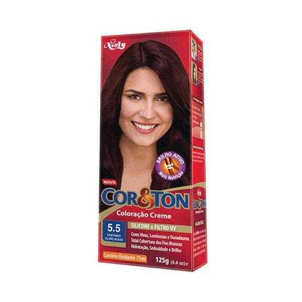 Coloração Cor&Ton Mini kit 5.5 Castanho Claro Acajú