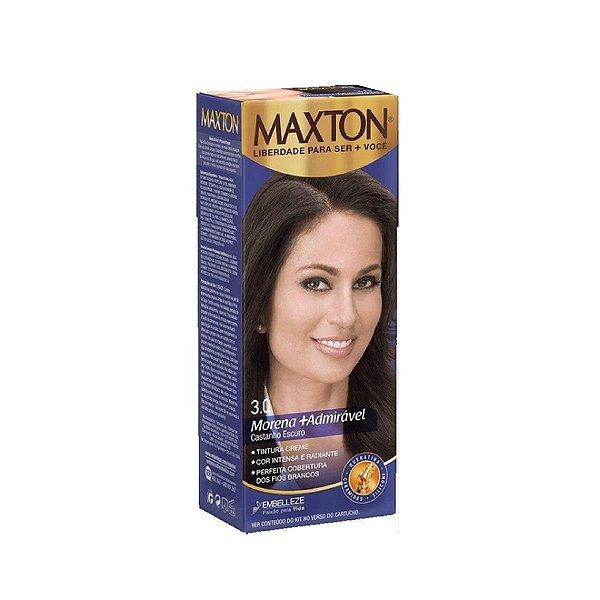 Tintura Creme Maxton Kit Prático 3.0 Castanho Escuro