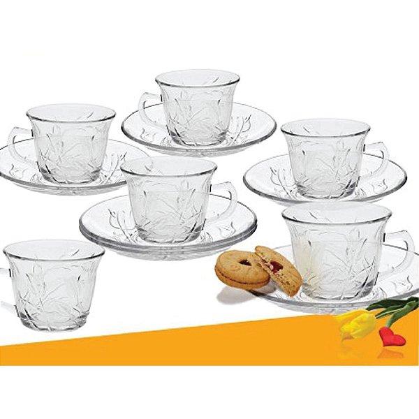Conjunto de Xicara de Chá Unicasa 12pcs Tulipa 641387