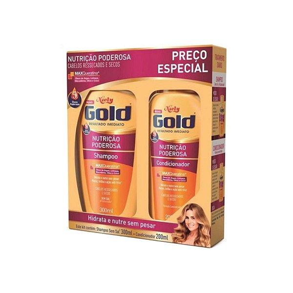 Kit Shampoo Niely Gold 300ml e Condicionador Nutrição Poderosa 200ml