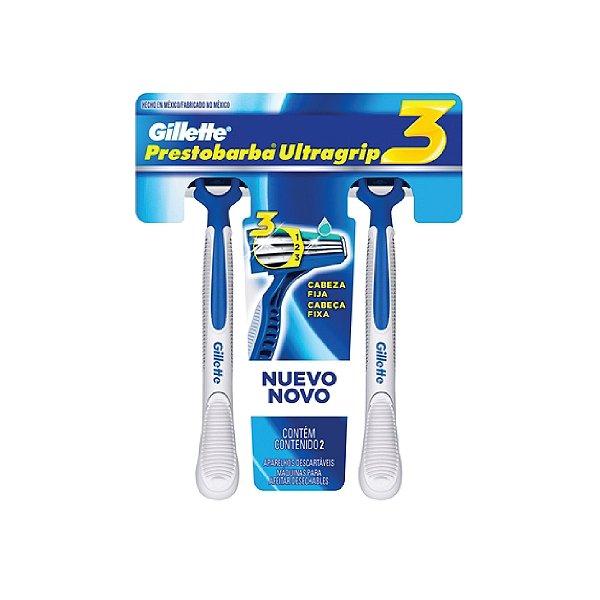 Barbeador Gillette Prestobarba Ultragrip 3 C/2