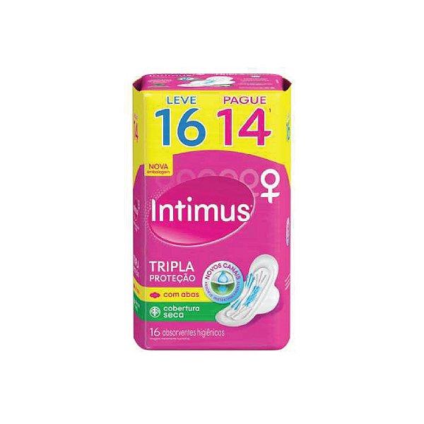 Absorvente Intimus Gel Tripla Proteção Seca Com Abas Leve 16 Pague 14