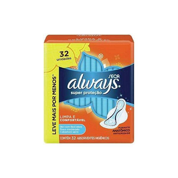 Absorvente Always Super Proteção Seca Com Abas C/32