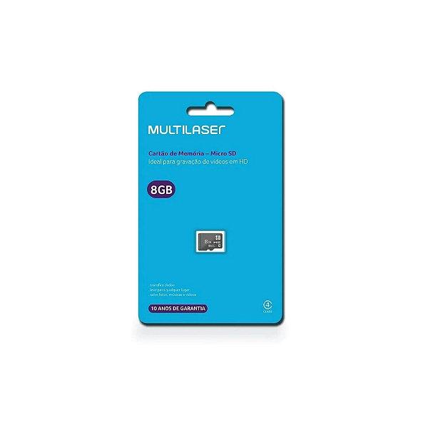 Cartão de Memória Multilaser Classe 4 8GB MC141