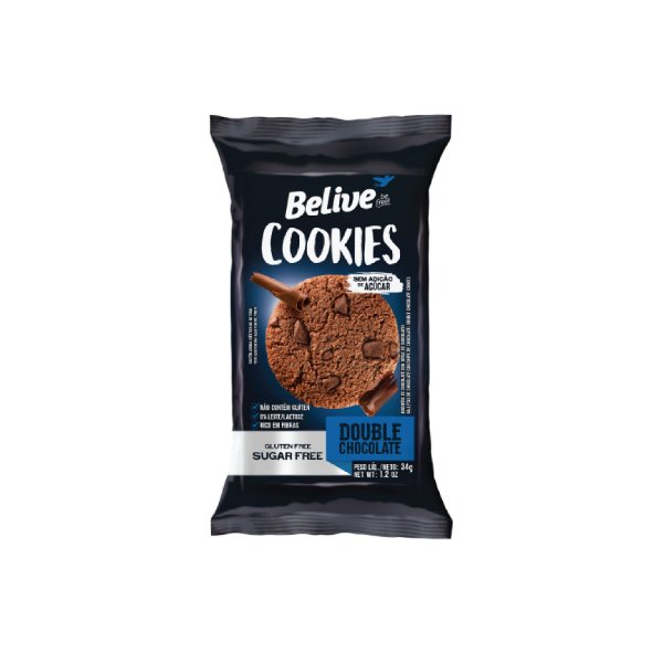 Cookies Belive Double Chocolate Zero Açúcar 34g