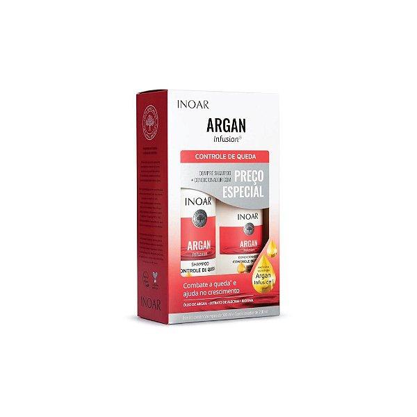 Kit Shampoo Inoar Argan Infusion Controle de Queda 500ml e Condicionador 250ml