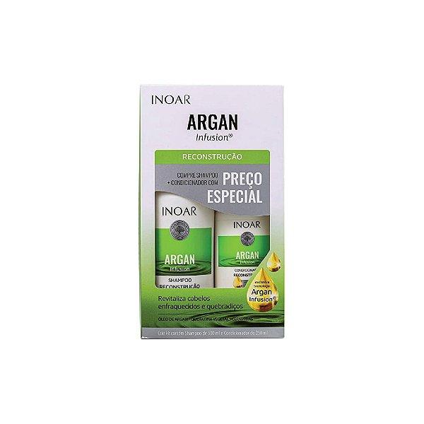 Kit Shampoo Inoar Argan Infusion Reconstrução 500ml e Condicionador 250ml