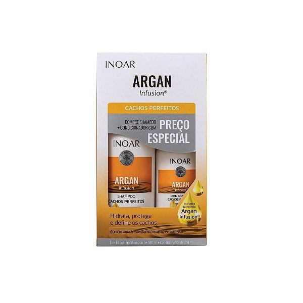 Kit Shampoo Inoar Argan Infusion Cachos Perfeitos 500ml e Condicionador 250ml