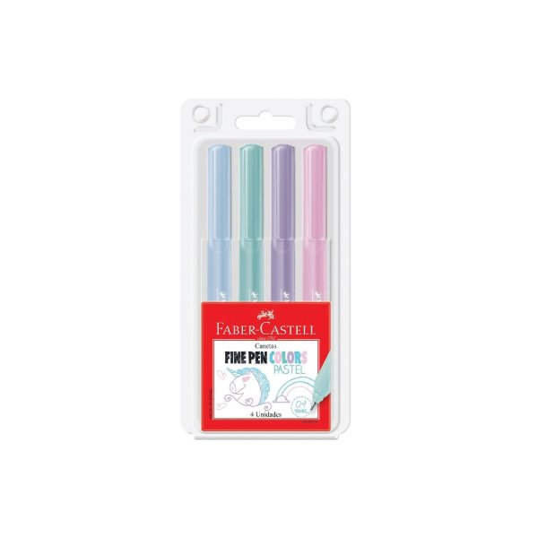 Caneta Hidrográfica 4.0 Faber Castell Fine Pen Colors C/4 Cores Pastel