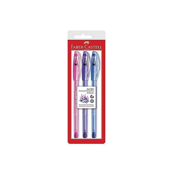 Caneta Esferográfica 8.0 Fábrica Castell Ice Gel Azul/Rosa/ Roxa C/3 Unidades