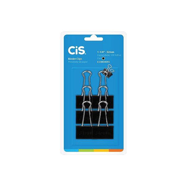 Clips Cis C/ Prendedor de Papel Preto 32mm C/ 6 Unid.