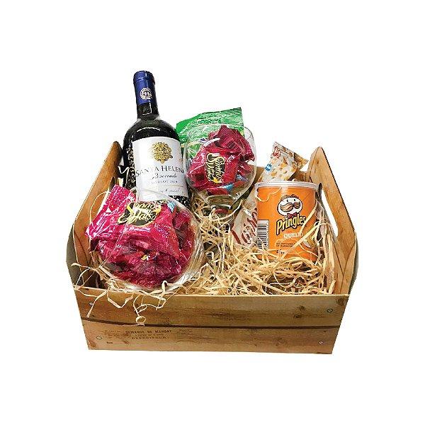 Cesta de Presente Dia dos Namorados com Vinho Chileno Santa Helena 750ml
