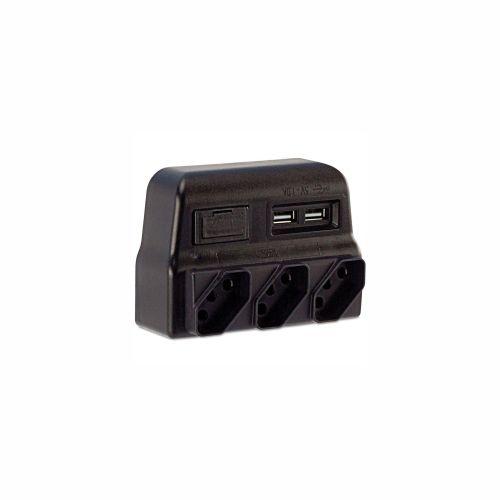 Protetor Elétrico Tripolar c/ Carregador USB Force Line 180100021