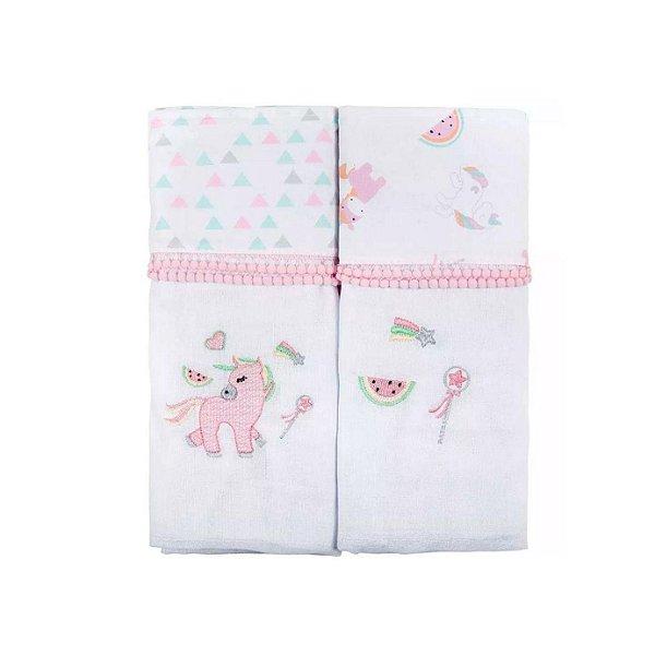 Toalha Fralda Baby Joy Trends 70 x 1,17cm C/2 Unidades Rosa