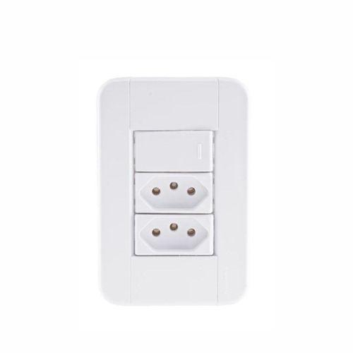 Conjunto Interruptor Simples + 2 Tomadas 2P+T 10A 250v