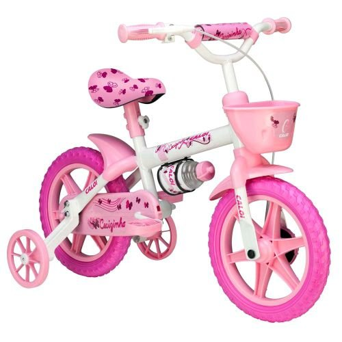 Bicicleta Cecizinha Rosa e Branca Aro 14 Caloi 444.29234