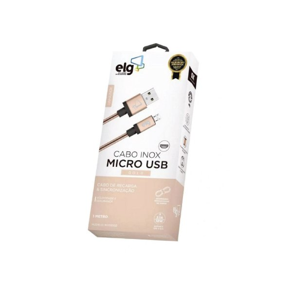 Cabo Micro USB Gold Inox 1m ELG INX510GD