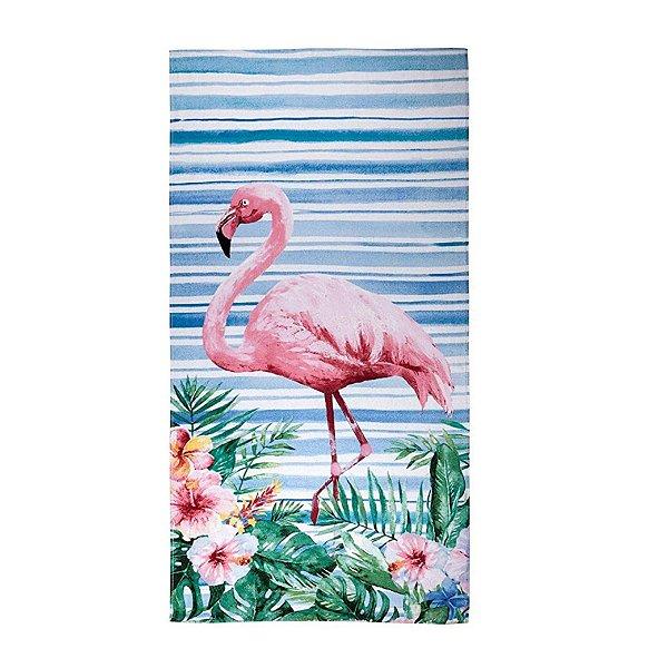 Toalha de Praia Santista 70x150cm Aveludada Flamingo