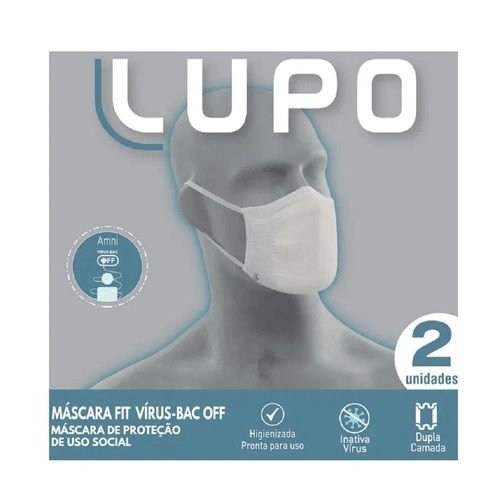 Máscara Lupo Tecnologia Amni Virus-Bac Off C/2 Branca