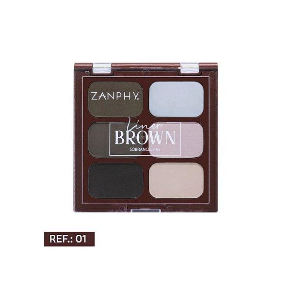 Paleta de Sombras Zanphy Liner Brown Cor 1 C/6 Cores