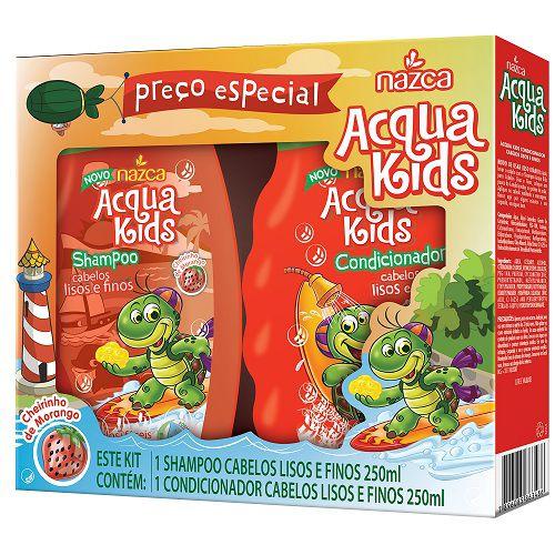 Kit Shampoo e Condicionador Nazca Acqua Kids Liso 250ml
