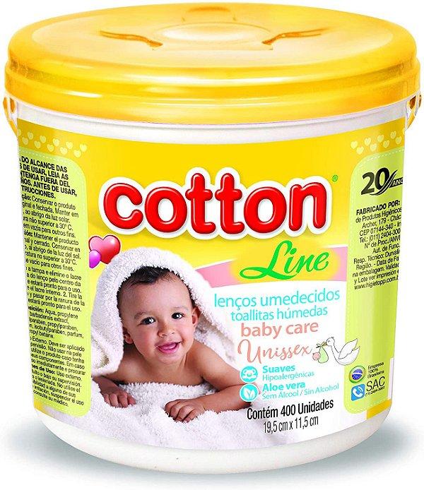 Lenços ?Umedecidos Cotton Amarelo 400 unidades