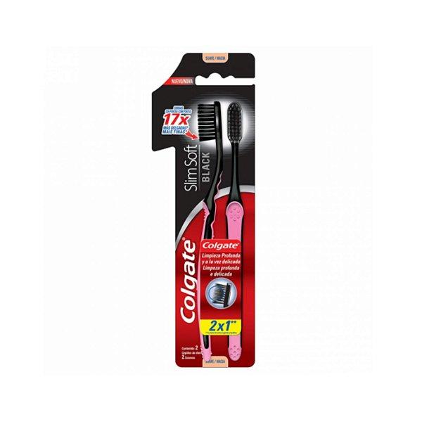 Escova Dental Colgate SlimSoft Black C/2 Escovas