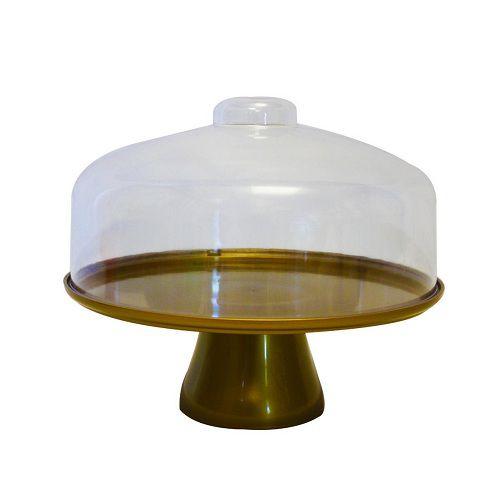 Boleira Coza Cake Com Cúpula 10111/4392 Dourada
