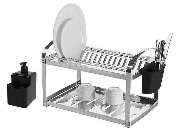 Escorredor de Pratos Inox Brinox C/ Dispenser 2099/499 Preto