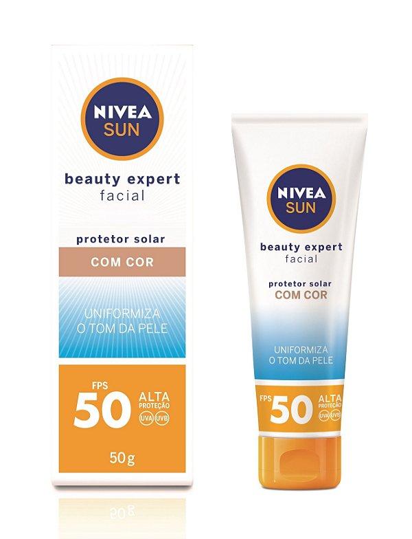 Protetor Solar Nivea Sun Beauty Expert Facial Com Cor FPS50 50g