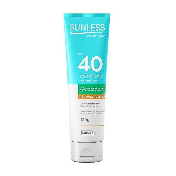Protetor Solar Sunless Hipoalergênico FPS40 120g