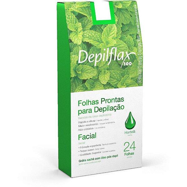 Folhas Prontas para Depilação Facial Depilflax Hortelã C/24 Unidades